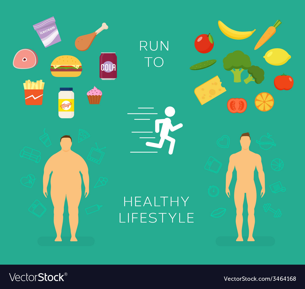 Running to healthy lifestyle flat card or vector | Price: 1 Credit (USD $1)