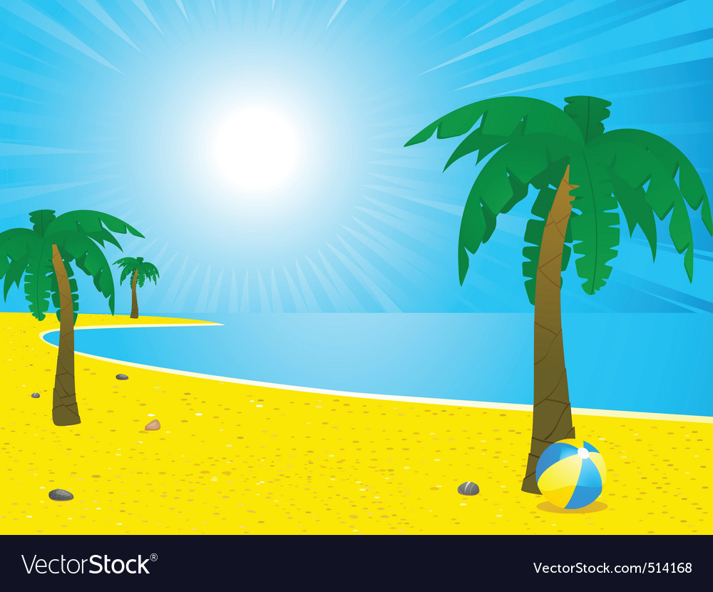 Summer beach and palm trees landscape vector | Price: 1 Credit (USD $1)