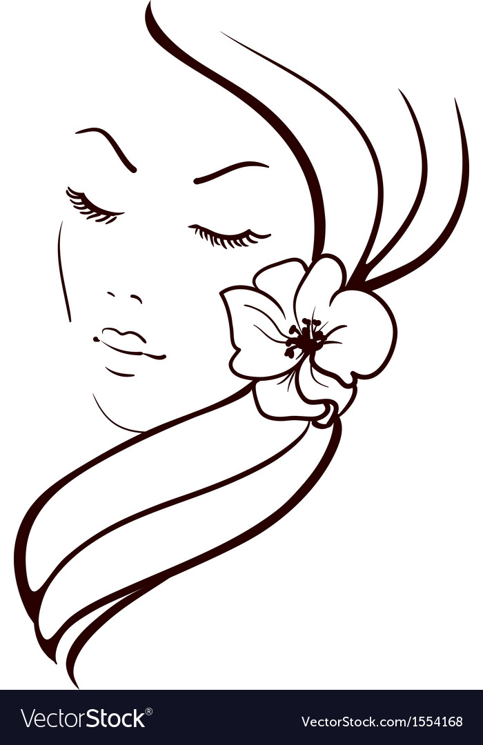 Woman face with beautiful flower in hair sketch vector | Price: 1 Credit (USD $1)