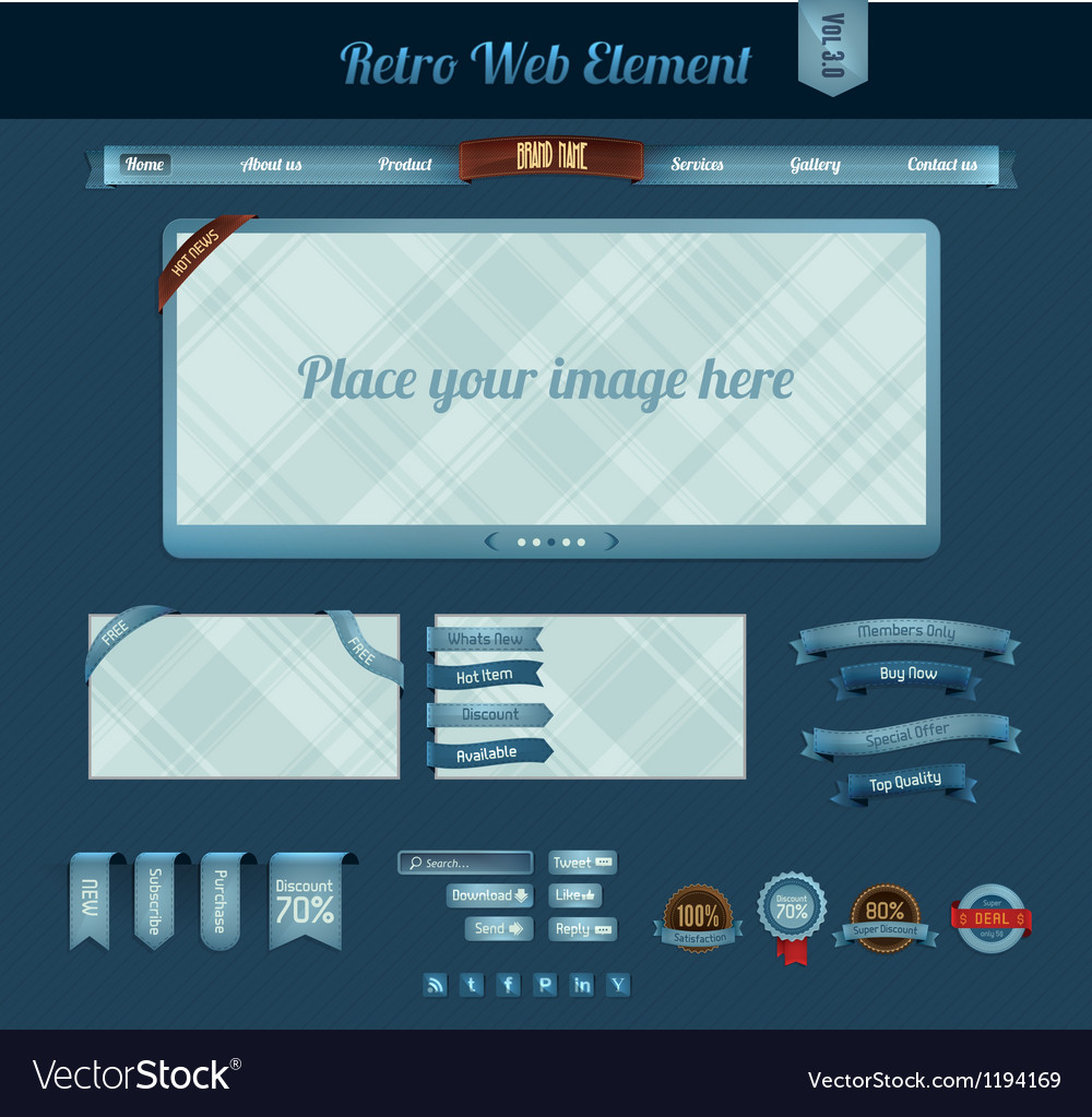 Retro web element 3 vector | Price: 1 Credit (USD $1)