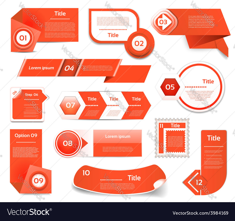 Set of red progress version step icons eps 10 vector