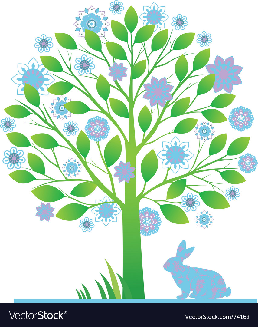 Tree with rabbits vector | Price: 1 Credit (USD $1)