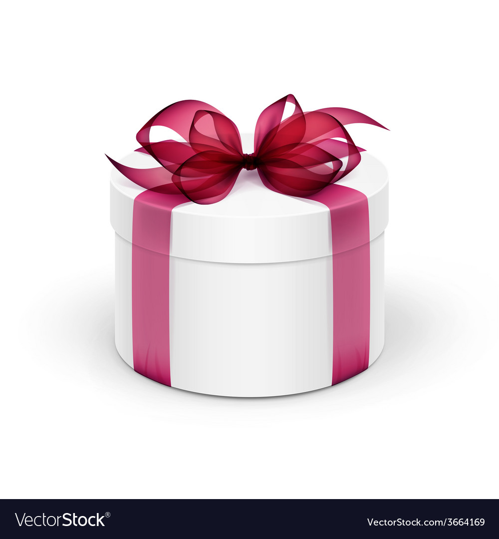 White round gift box with burgundy red ribbon and vector | Price: 1 Credit (USD $1)
