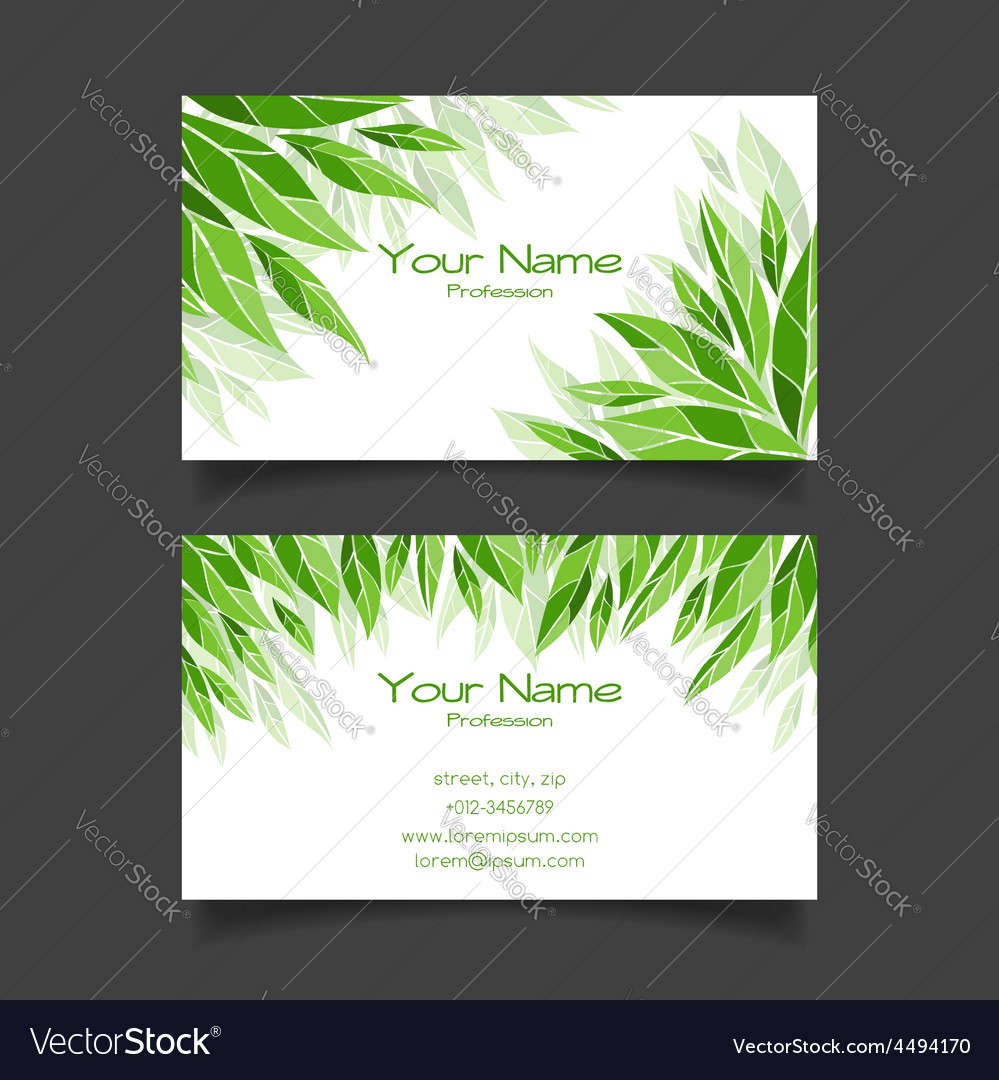 Business card with green leaves template vector | Price: 1 Credit (USD $1)