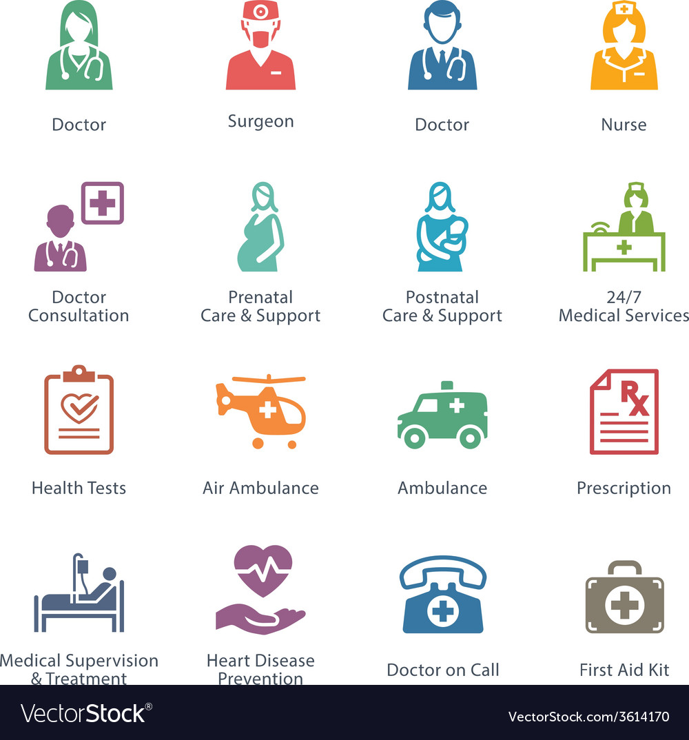 Colored medical services icons - set 1 vector | Price: 1 Credit (USD $1)
