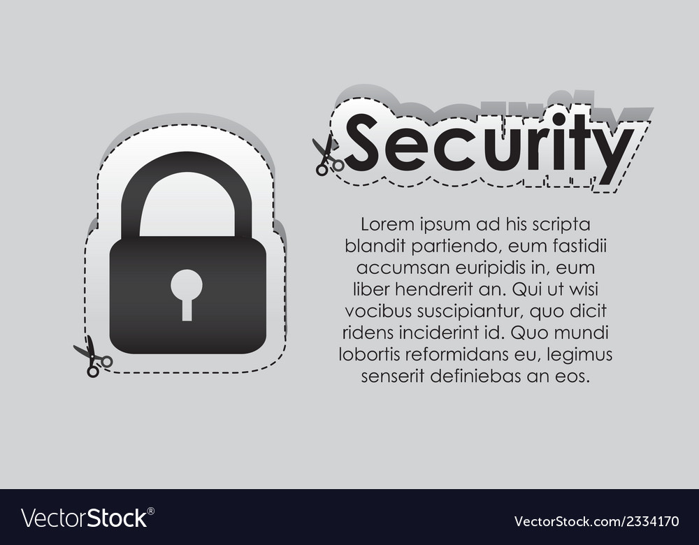 Label with cut lines and the image of a padlock vector | Price: 1 Credit (USD $1)