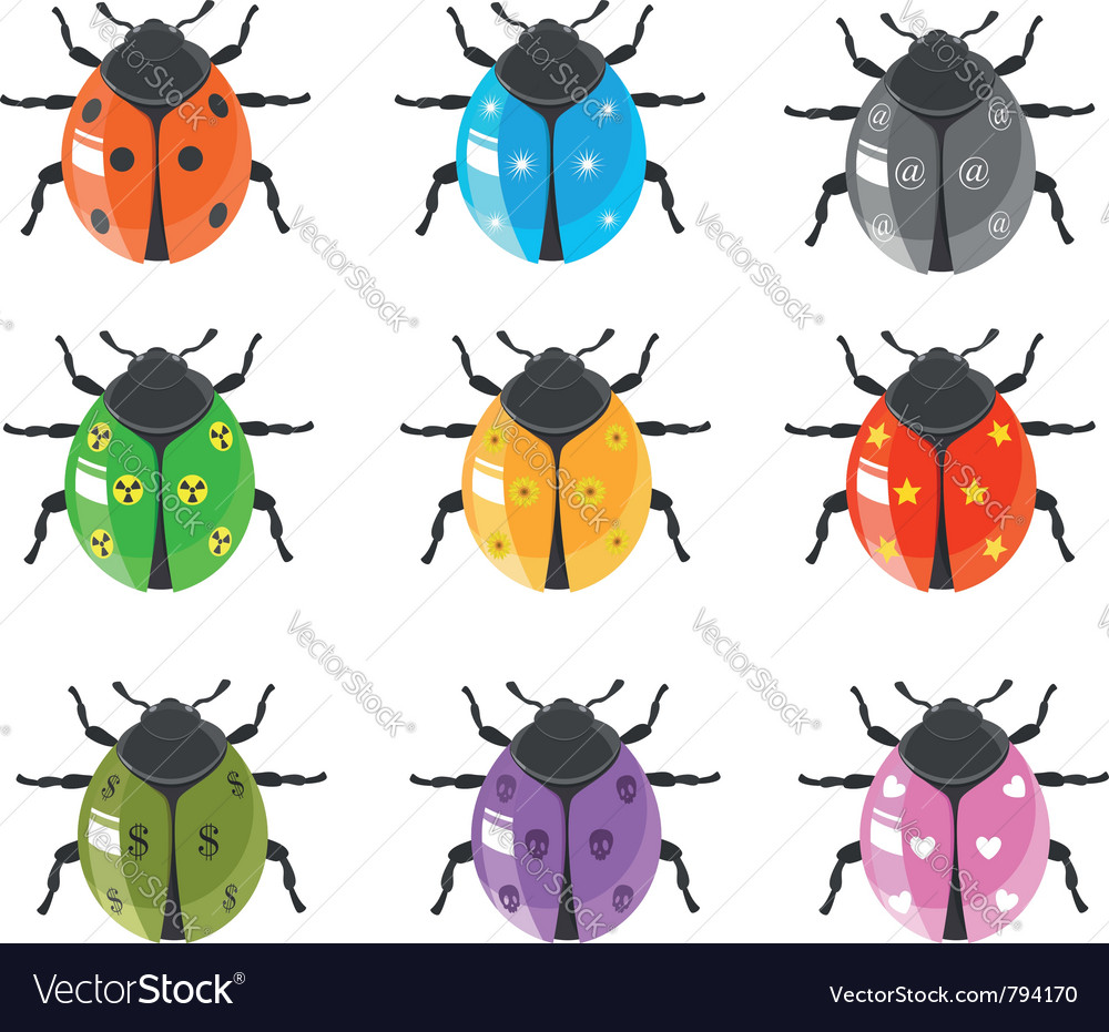 Ladybug insect glossy icon set vector | Price:  Credit (USD $)