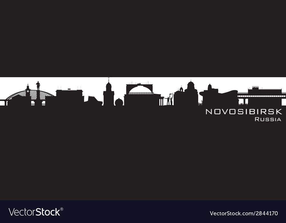 Novosibirsk russia city skyline detailed silhouett vector | Price: 1 Credit (USD $1)