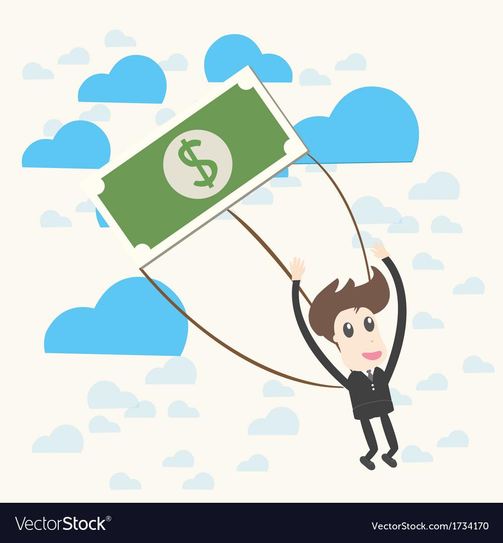 Parachuting businessman vector | Price: 1 Credit (USD $1)