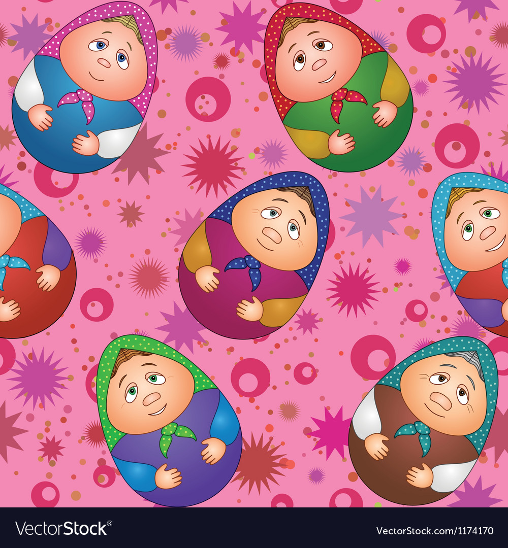 Seamless dolls and abstract pattern vector | Price: 1 Credit (USD $1)