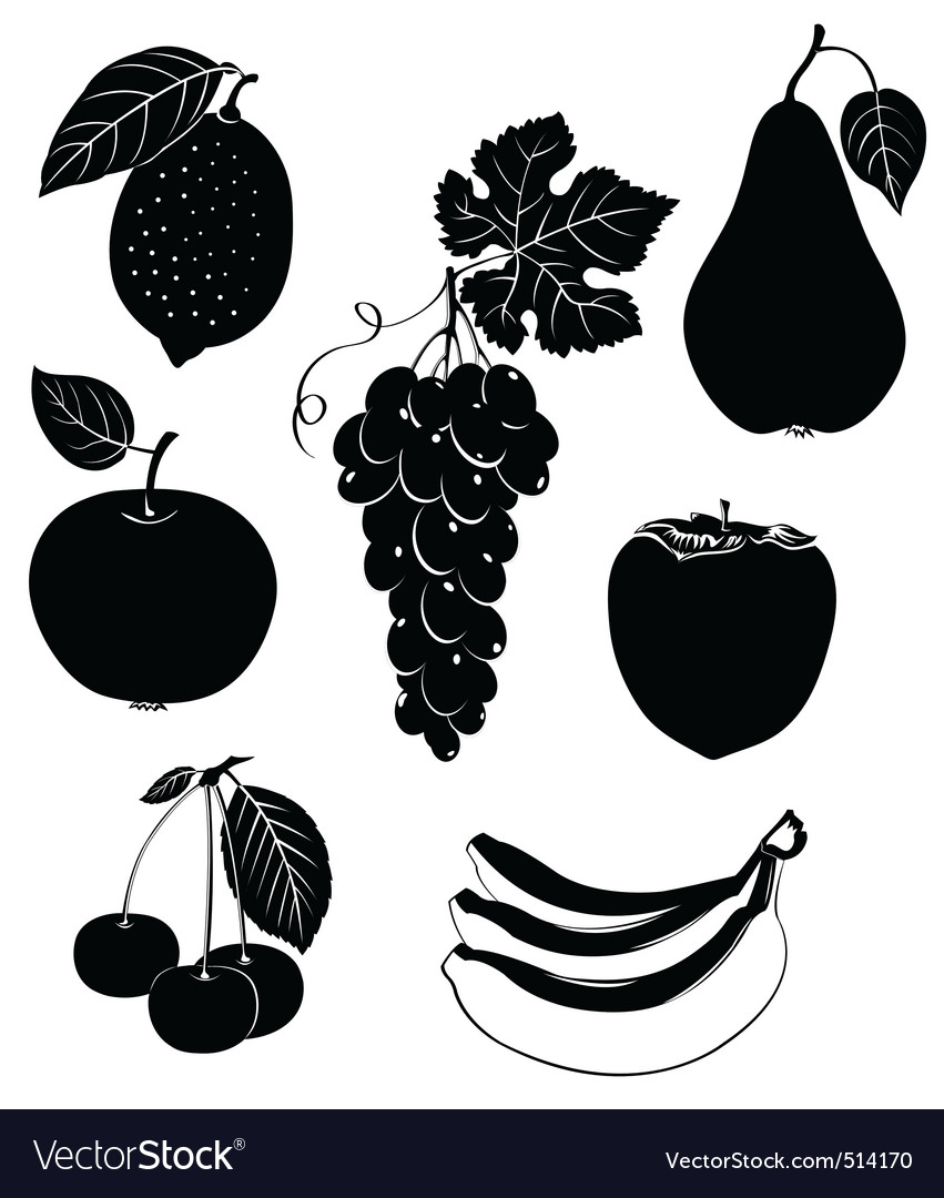 Set of silhouettes of fruit vector | Price: 1 Credit (USD $1)