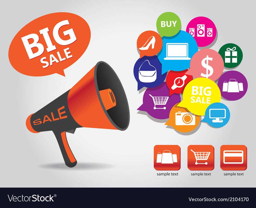 Shopping big sale megaphone vector | Price: 1 Credit (USD $1)