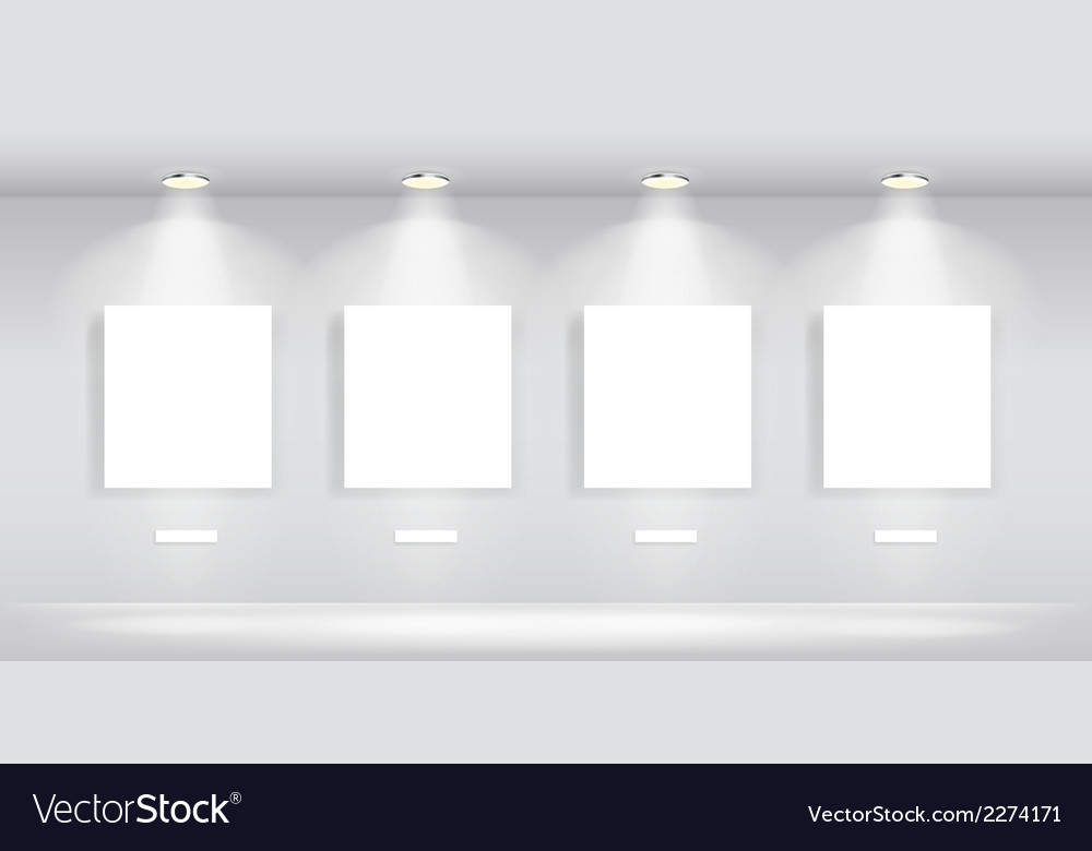 Beauty gallery interior with empty frames vector | Price: 1 Credit (USD $1)