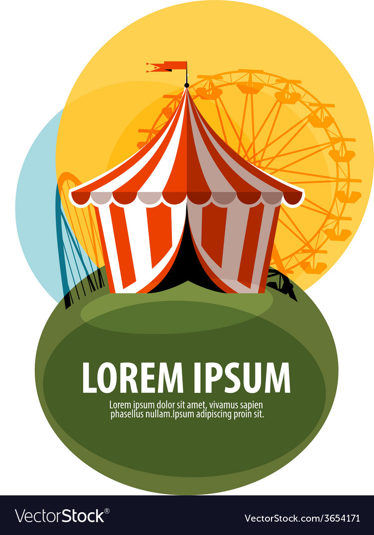 Circus tent logo design template attractions or vector | Price: 1 Credit (USD $1)