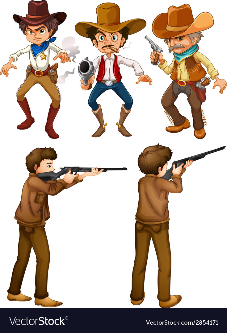 Cowboys and hunters vector | Price: 3 Credit (USD $3)
