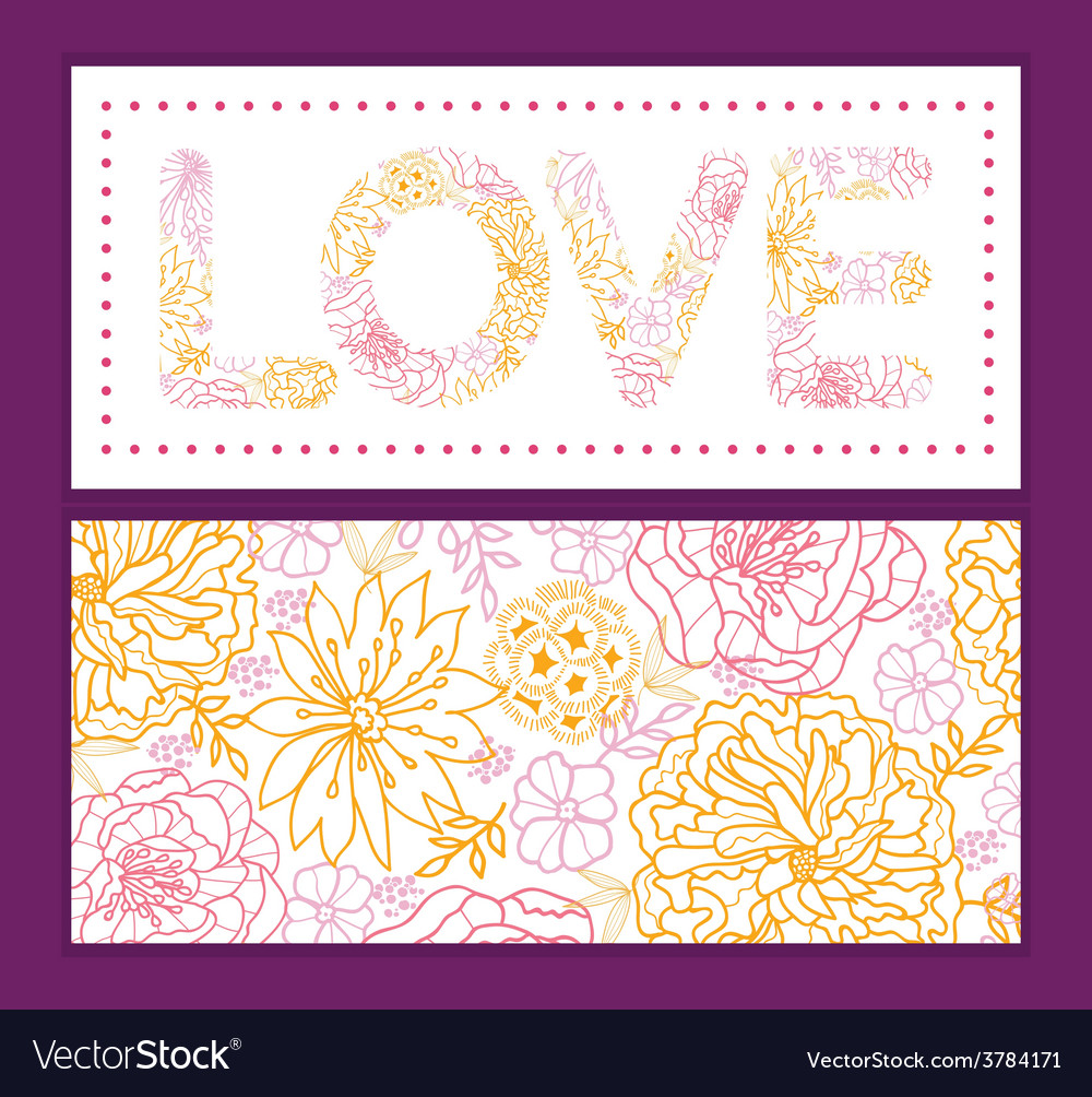 Flowers outlined love text frame pattern vector | Price: 1 Credit (USD $1)