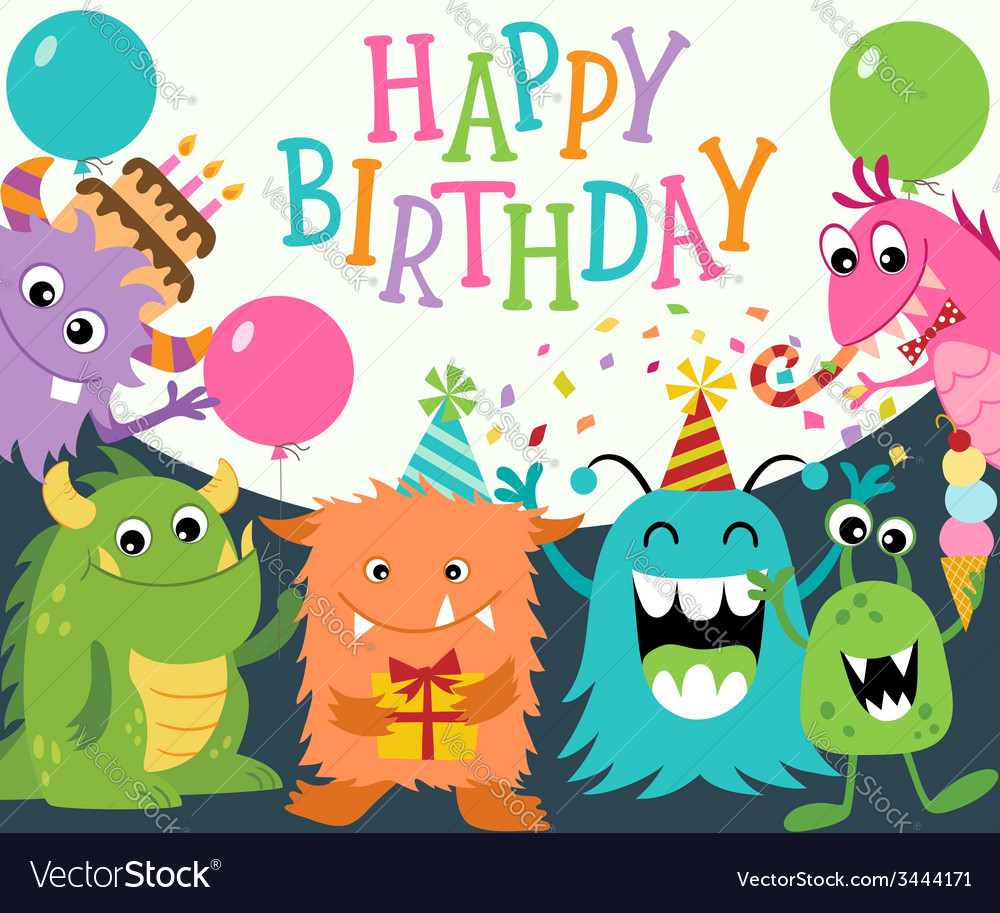 Happy birthday monsters vector | Price: 1 Credit (USD $1)