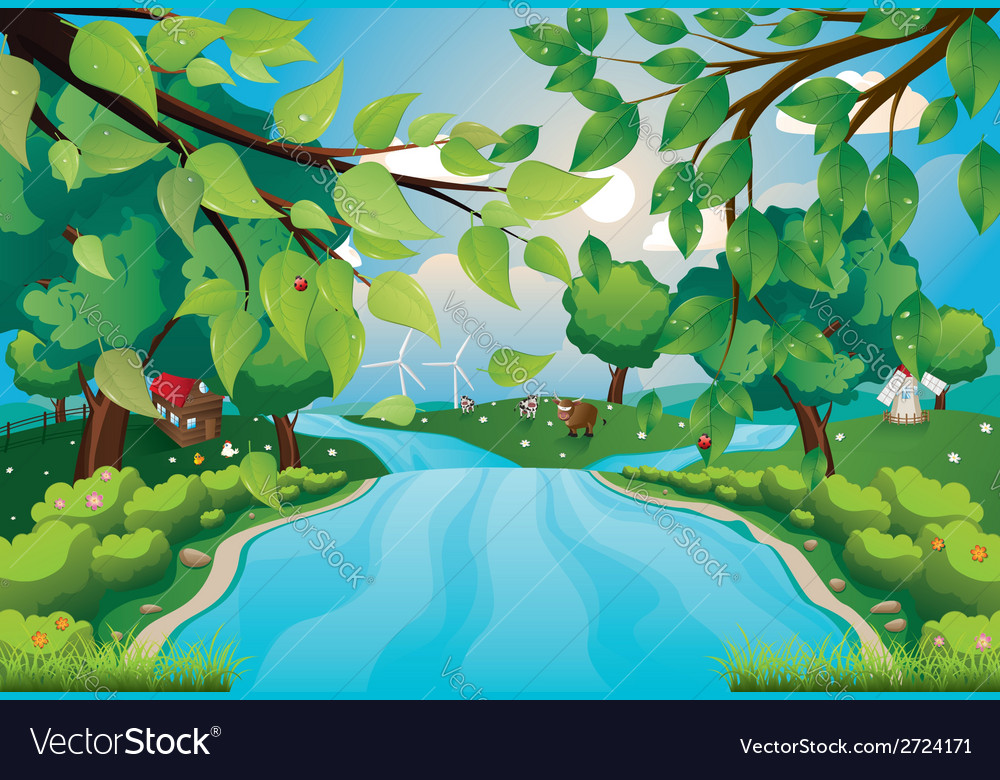 Hills and river vector | Price: 1 Credit (USD $1)