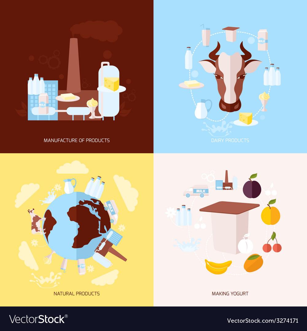 Milk icons set flat vector | Price: 1 Credit (USD $1)