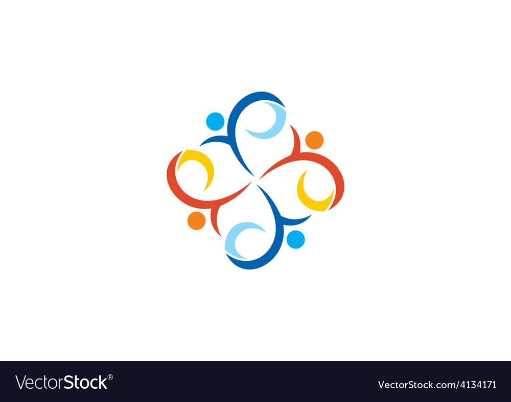People swirl circle diversity logo vector | Price: 1 Credit (USD $1)