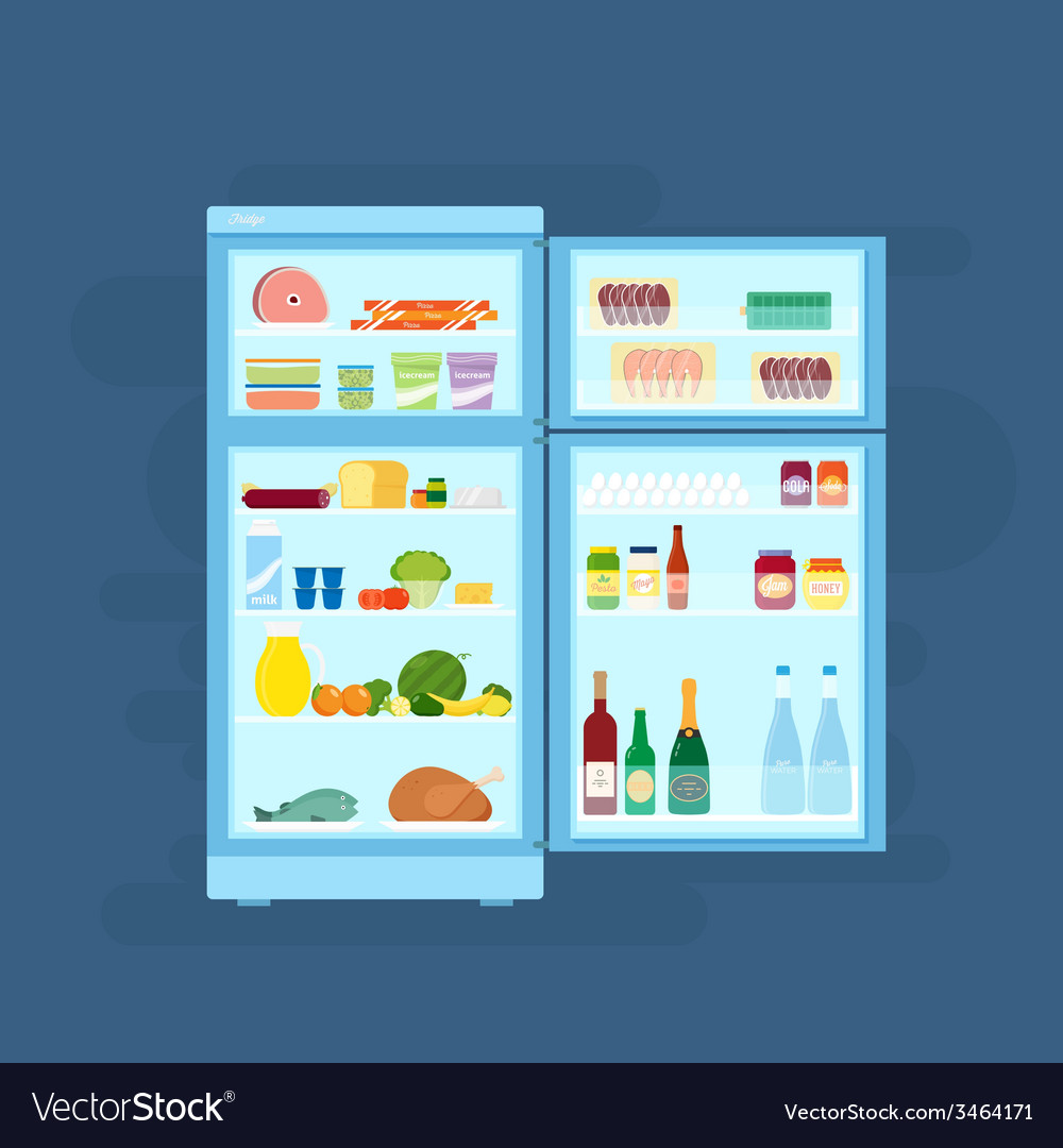 Refrigerator with food icons flat style vector | Price: 1 Credit (USD $1)