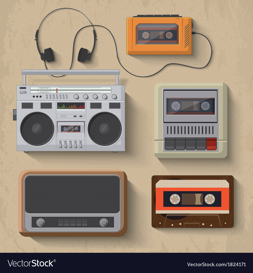 Retro music player icon set vector
