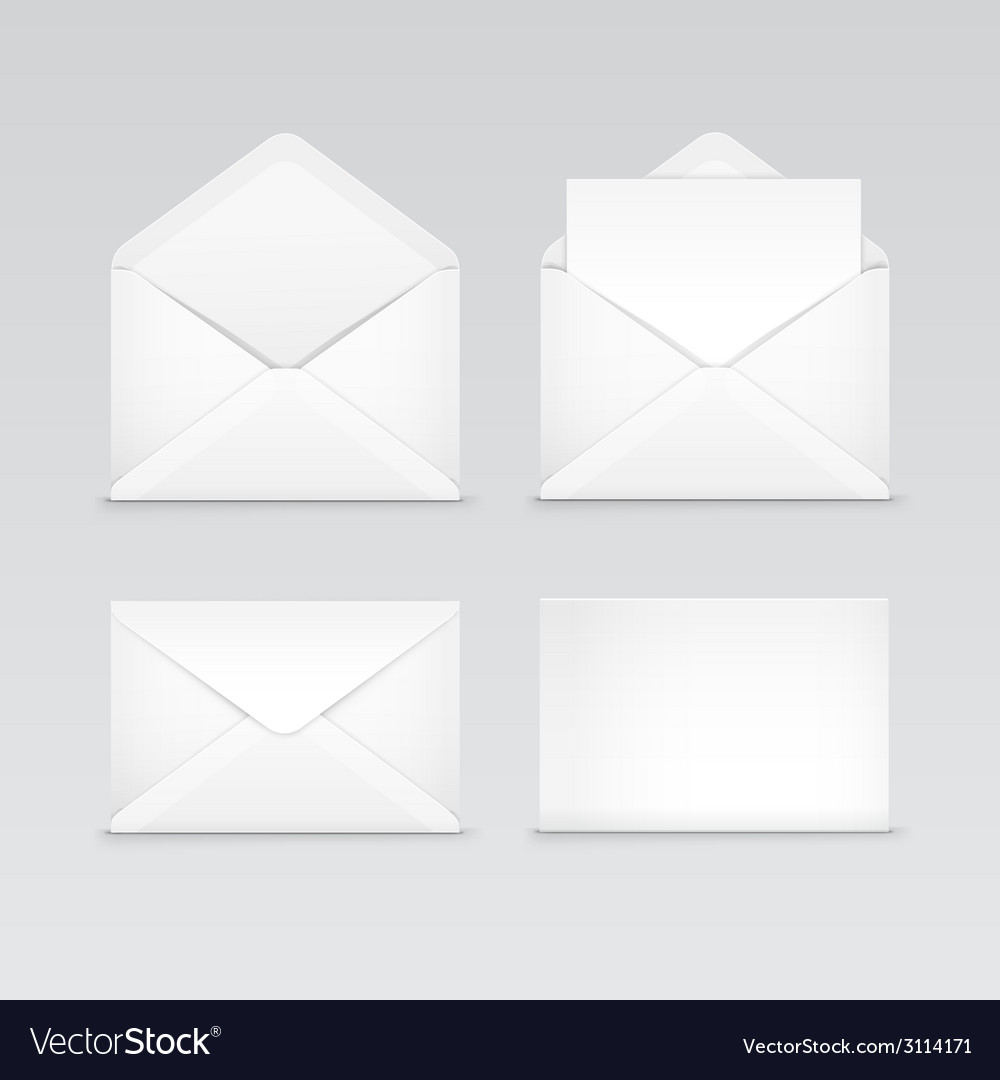 Set of white blank envelopes isolated vector | Price: 1 Credit (USD $1)