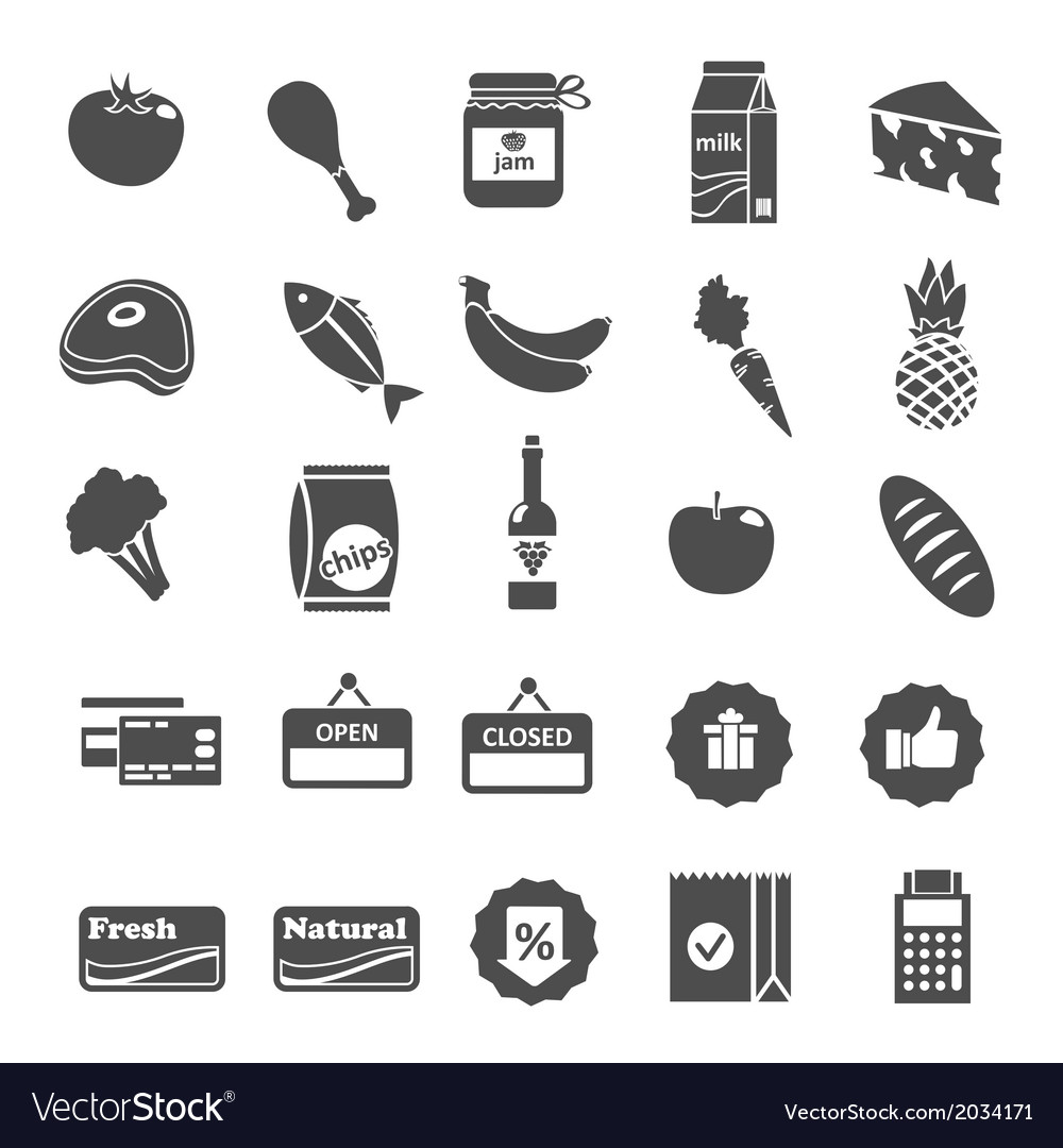 Supermarket food selection icons set vector | Price: 1 Credit (USD $1)