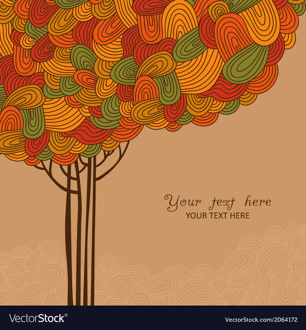 Abstract autumn tree made of waves for your design vector | Price: 1 Credit (USD $1)