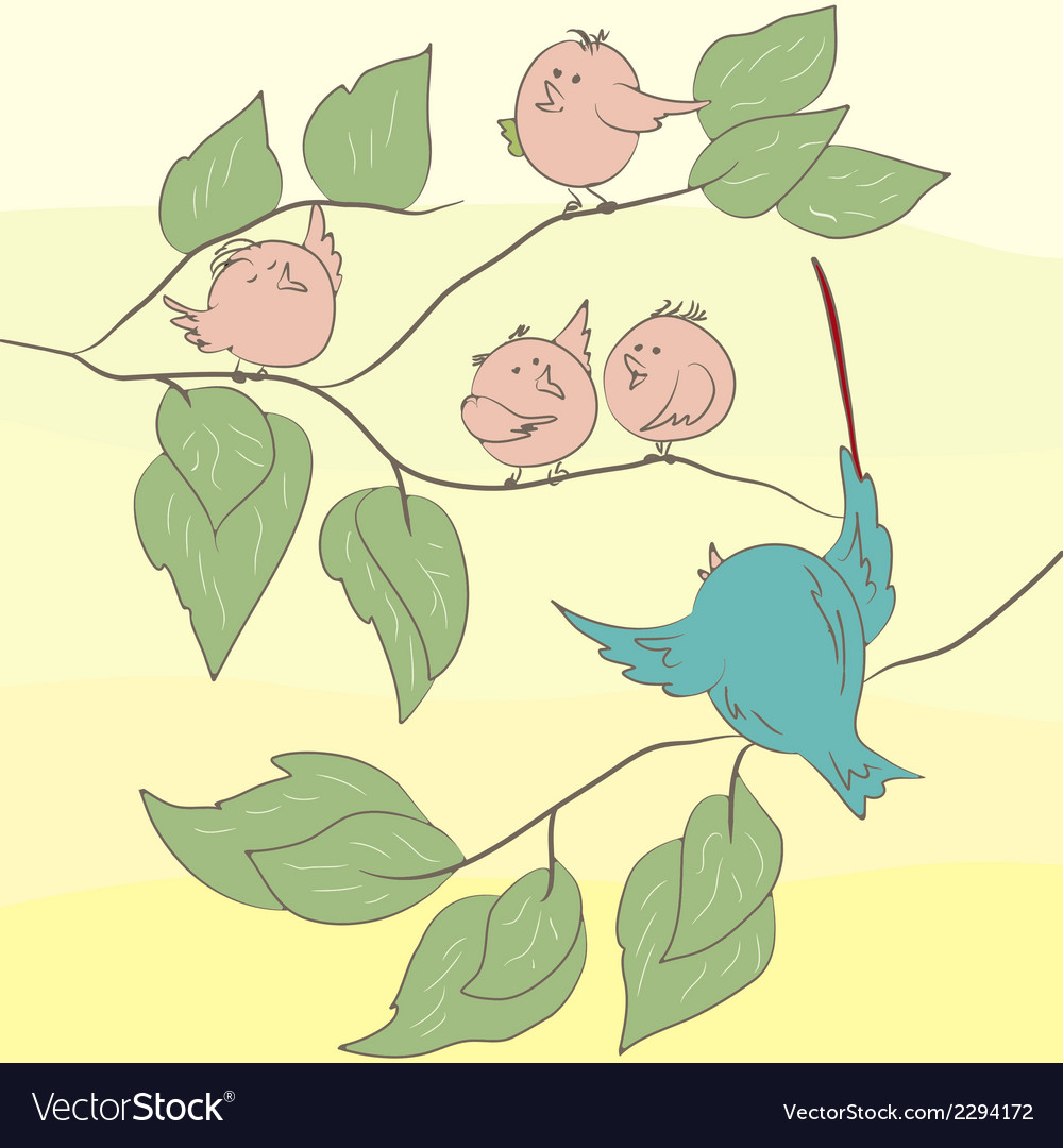 Birds on the branch eps 8 vector | Price: 1 Credit (USD $1)