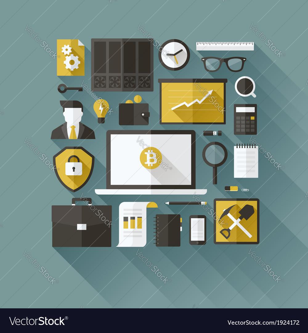 Bitcoin essentials modern flat design elements vector | Price: 1 Credit (USD $1)