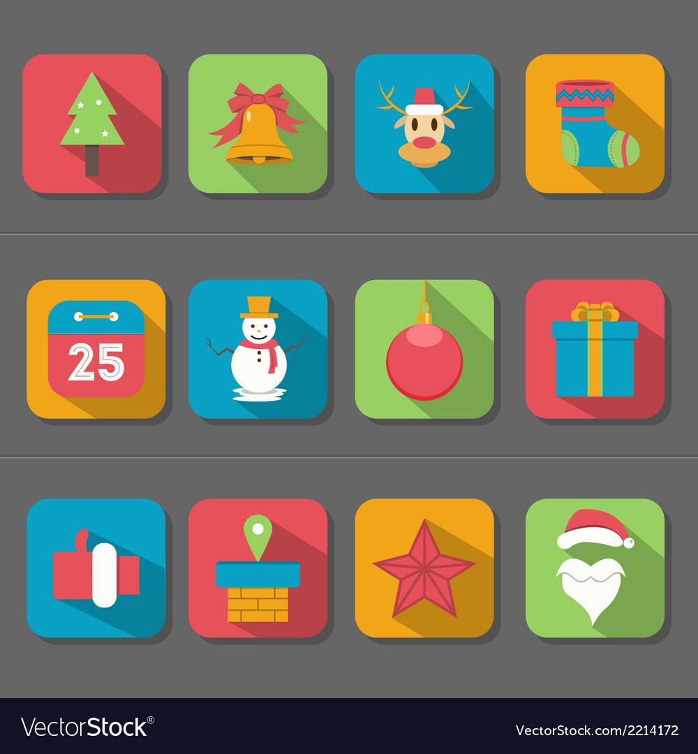 Christmas flat design icon vector | Price: 1 Credit (USD $1)