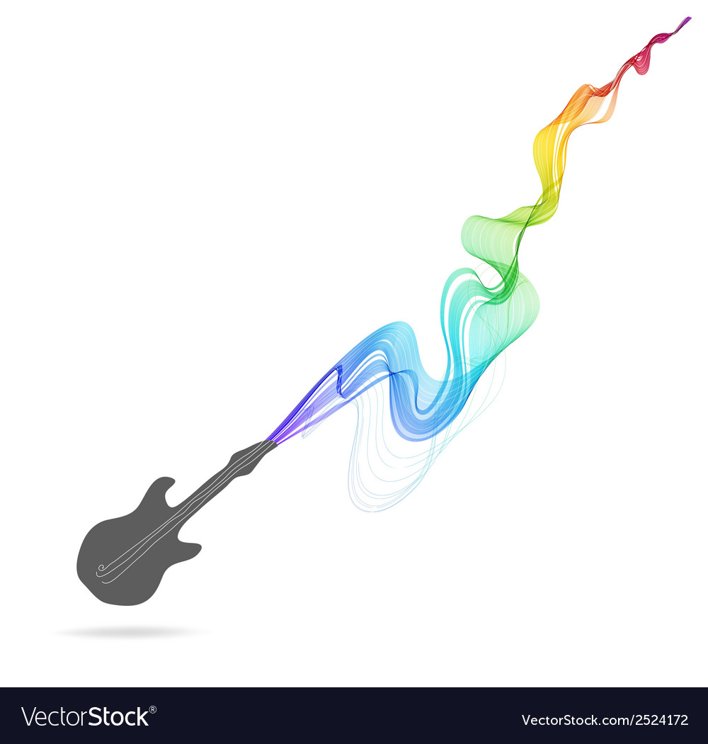 Dark gray guitar icon with color abstract wave vector | Price: 1 Credit (USD $1)