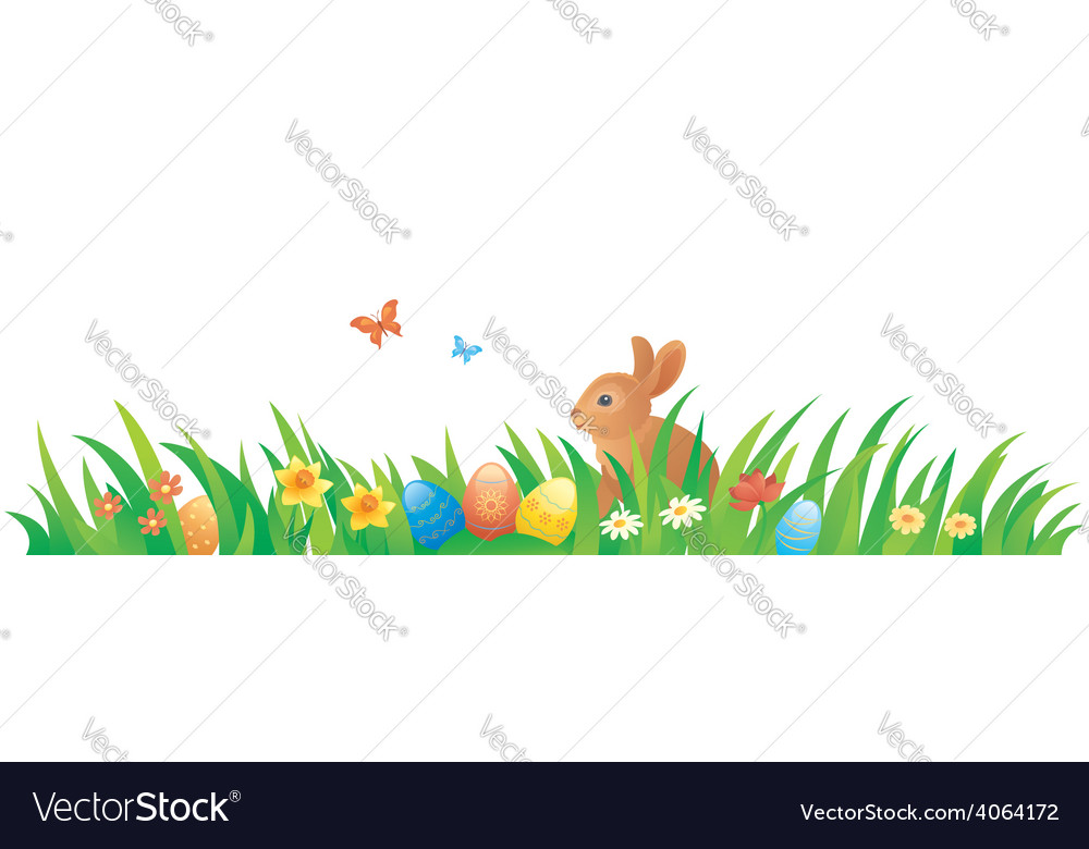Easter grass with a bunny vector | Price: 1 Credit (USD $1)