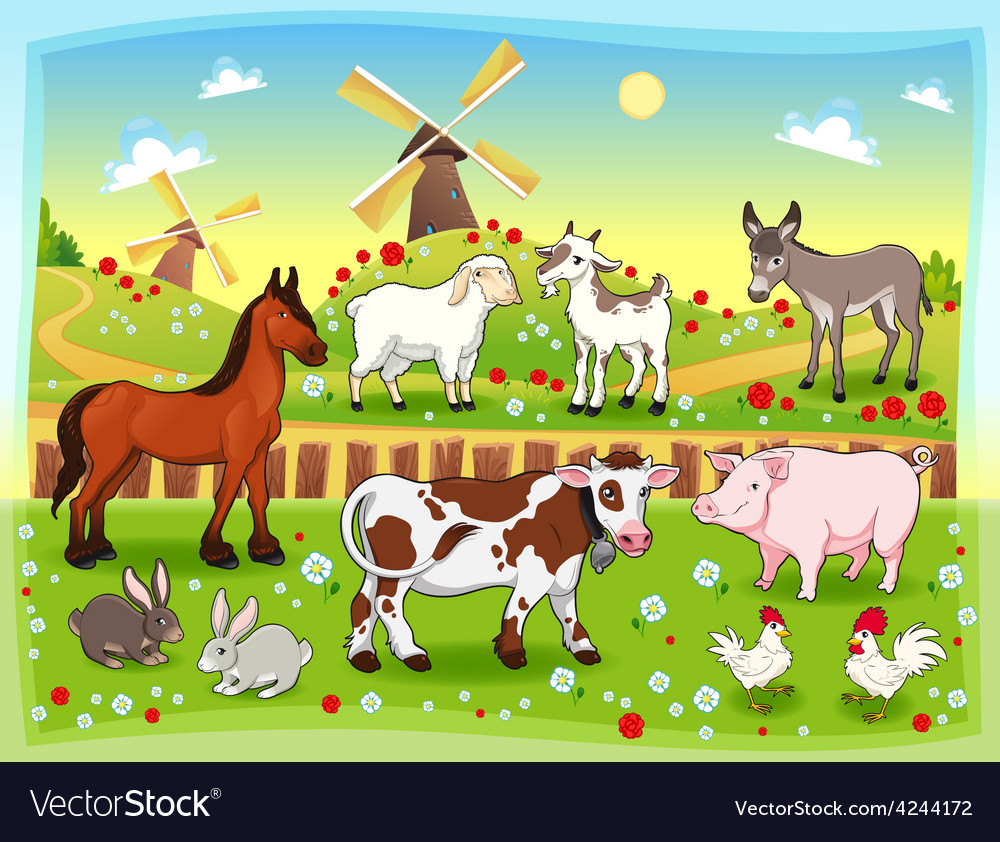 Farm animals with background vector | Price: 3 Credit (USD $3)