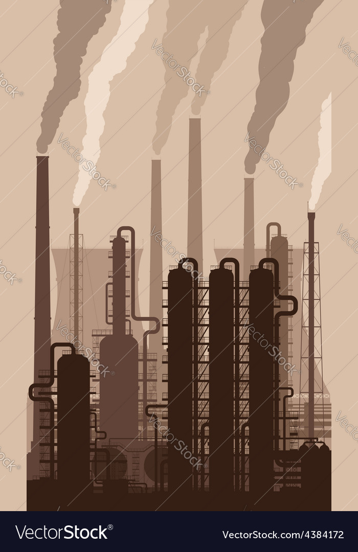 Oil refinery silhouette with smoking chimneys vector | Price: 1 Credit (USD $1)