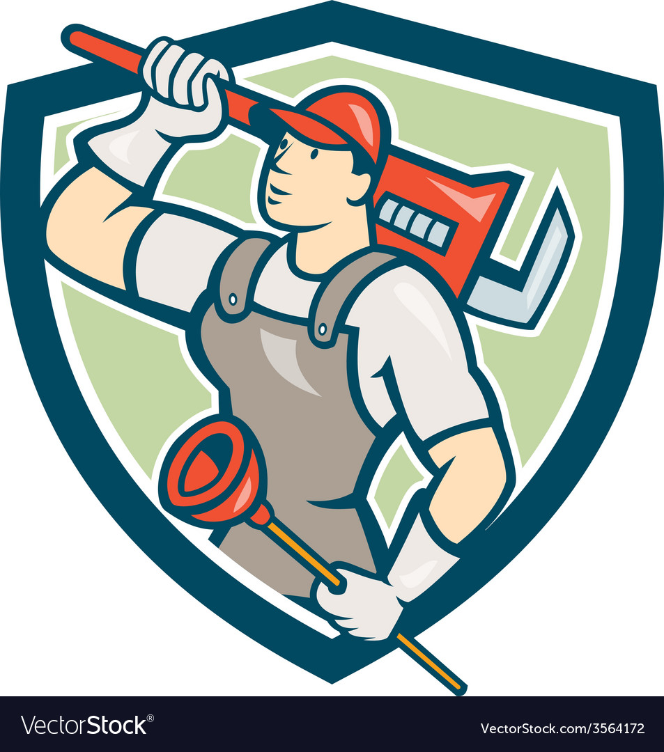 Plumber holding wrench plunger shield cartoon vector | Price: 1 Credit (USD $1)