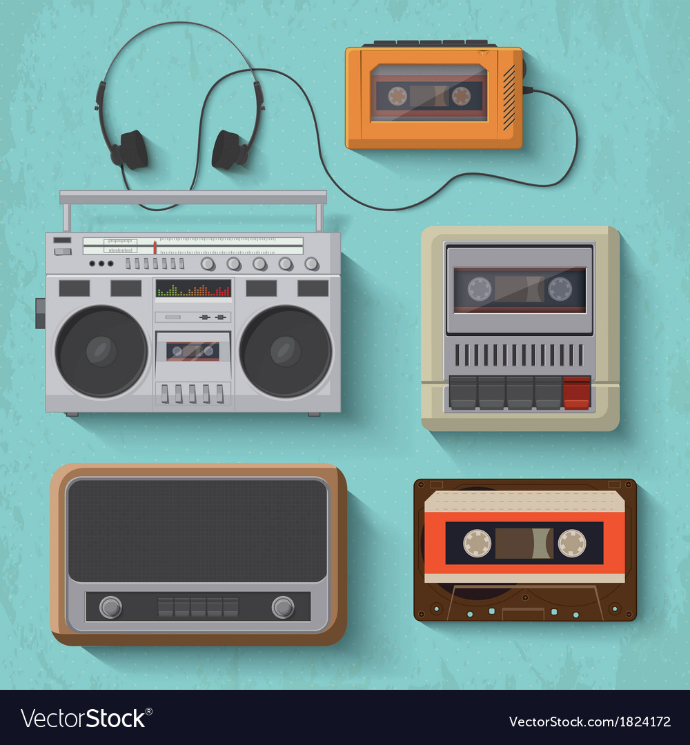 Retro music player icon set 2 vector | Price: 1 Credit (USD $1)