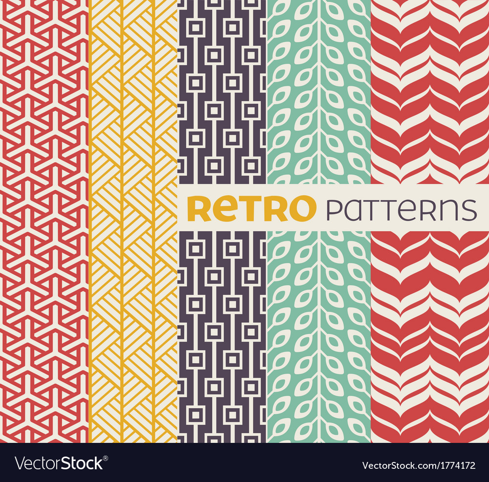 Set of seamless patterns in retro style vector | Price: 1 Credit (USD $1)
