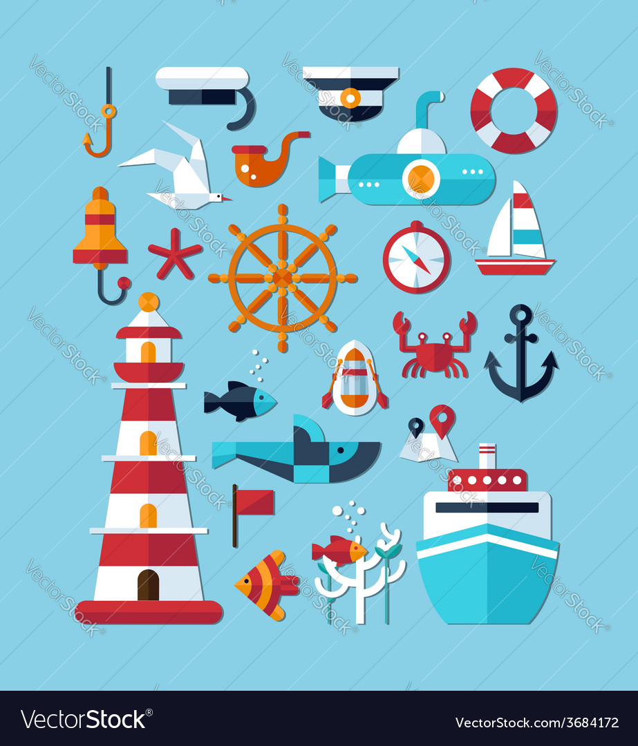 Set of vintage flat design modern nautical marine vector | Price: 1 Credit (USD $1)