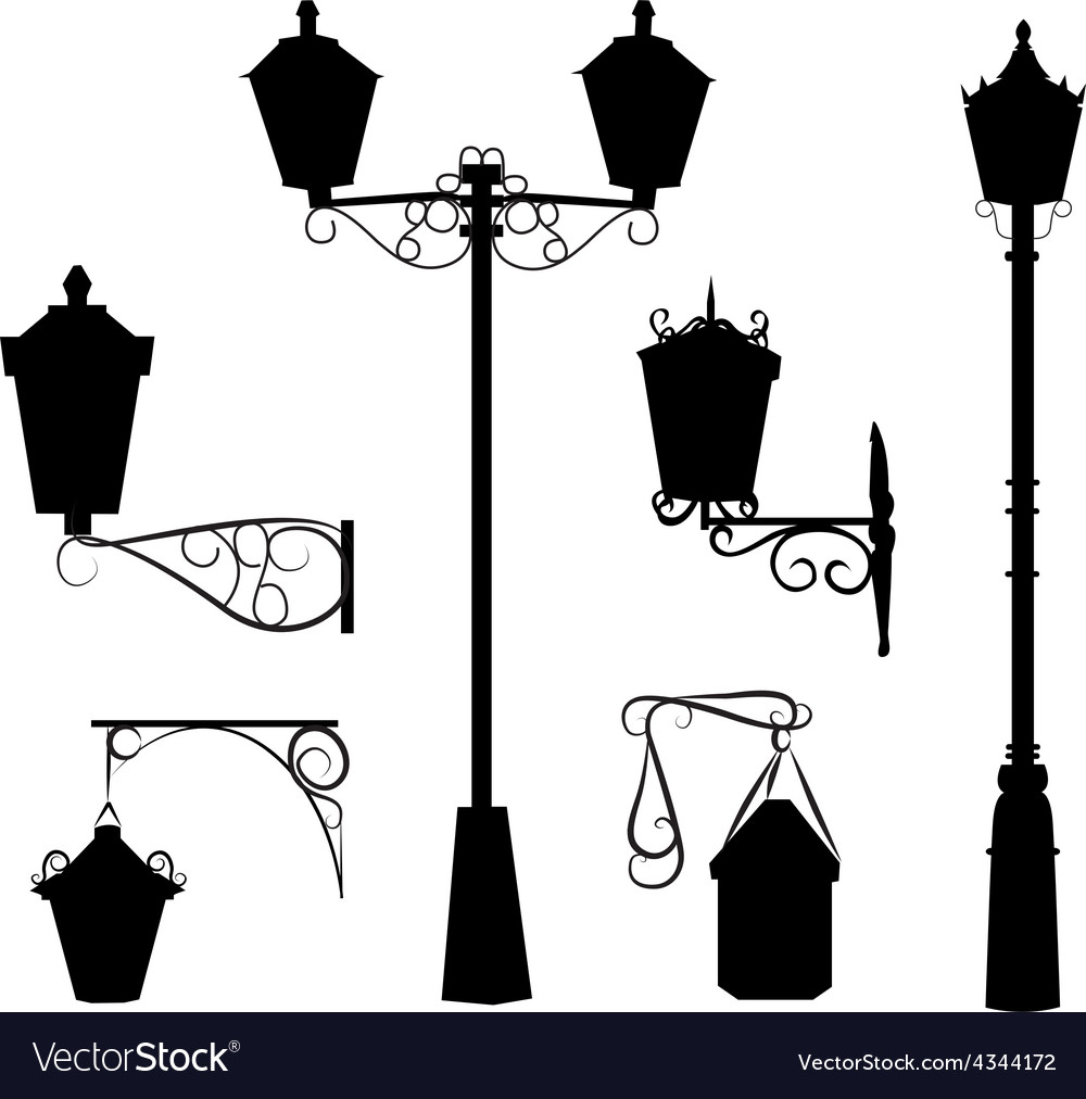 Silhouette of antique outdoor lamps vector | Price: 1 Credit (USD $1)