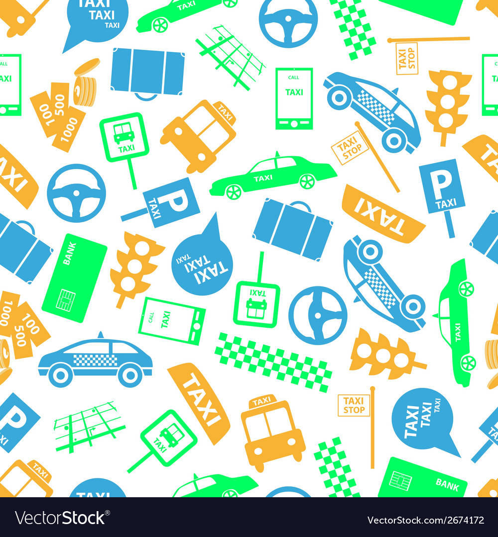 Taxi icons color seamless pattern eps10 vector | Price: 1 Credit (USD $1)