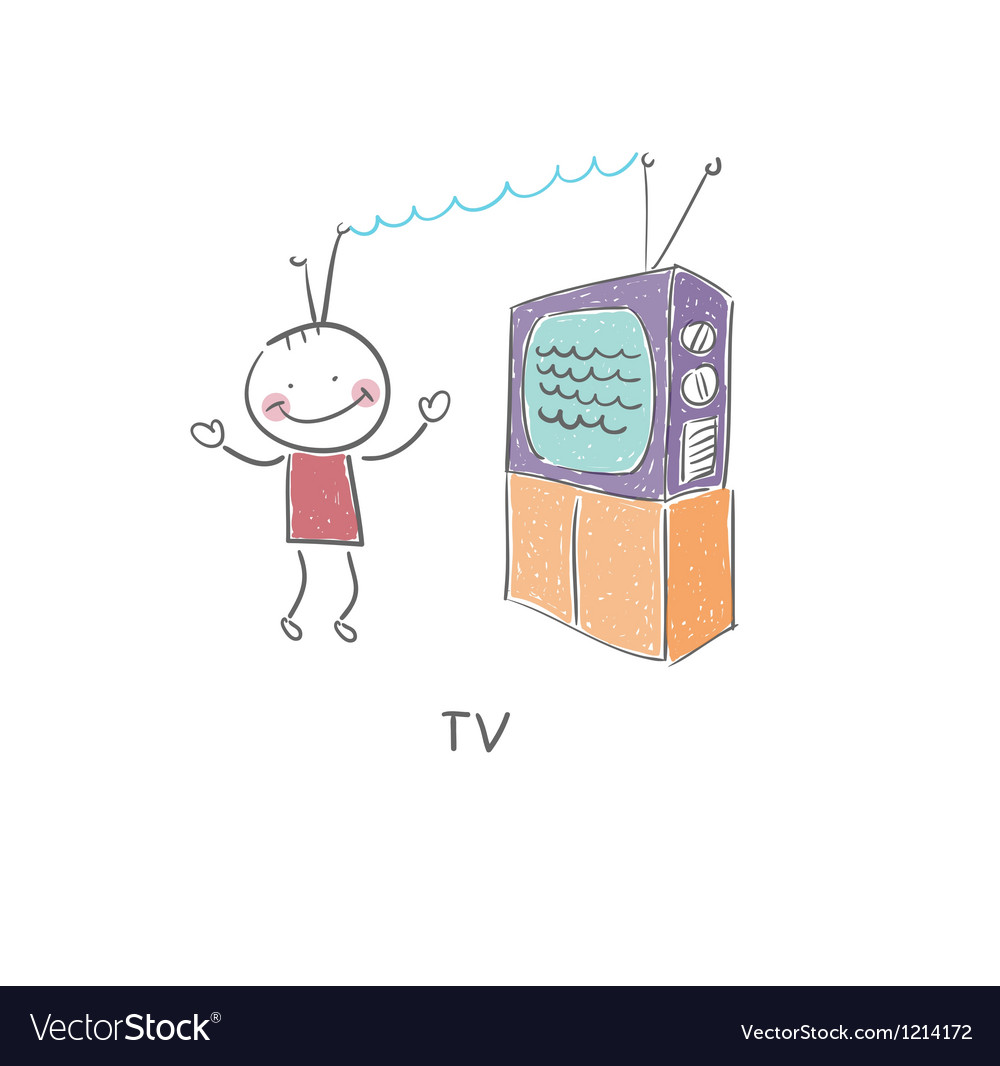 Tv and man vector | Price: 1 Credit (USD $1)