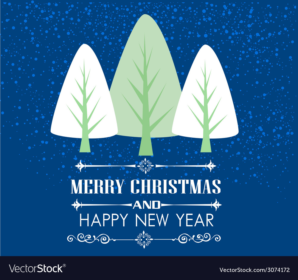 Vintage christmas card with tree and ornaments xm vector | Price: 1 Credit (USD $1)