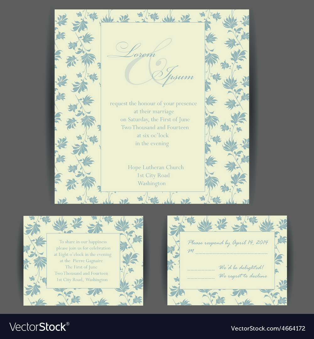 Wedding invitation card with floral elements vector | Price: 1 Credit (USD $1)