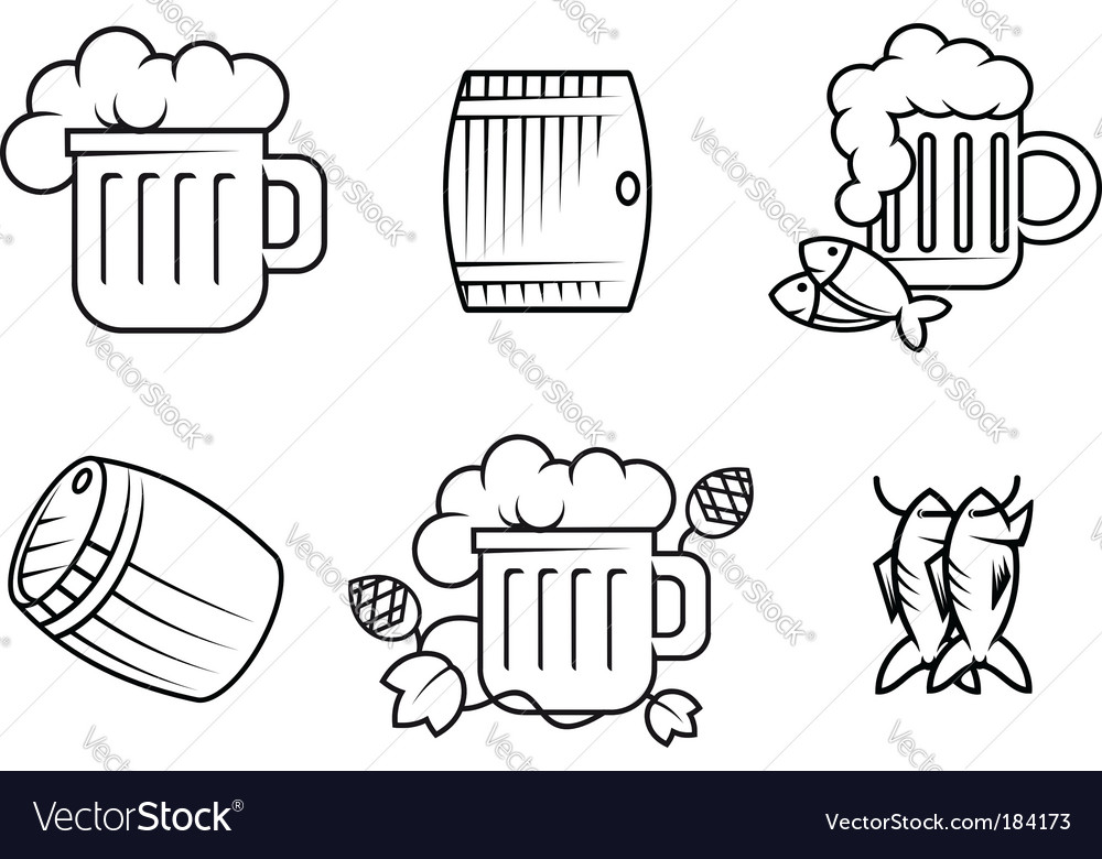 Beer and alcohol symbols vector | Price: 1 Credit (USD $1)