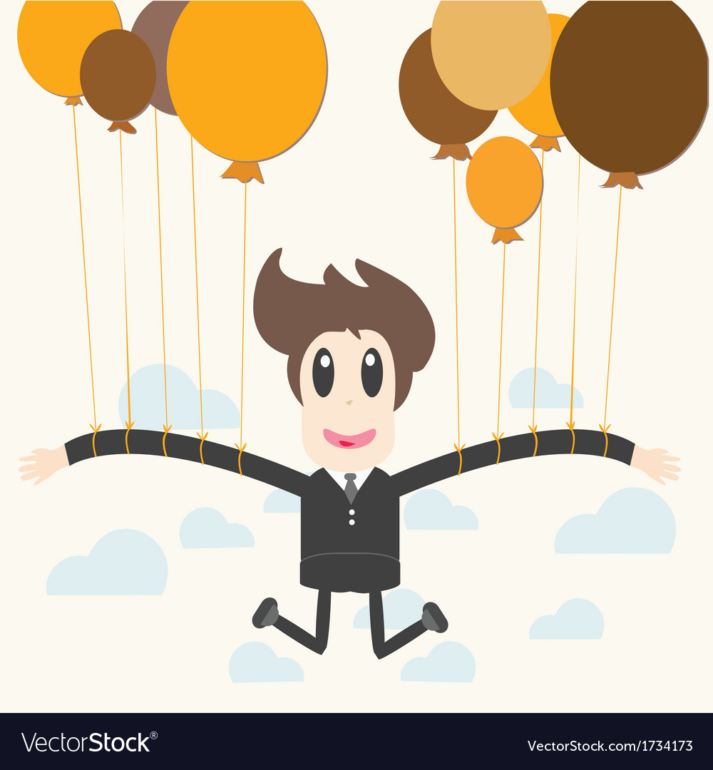 Businessman holding a balloon vector | Price: 1 Credit (USD $1)