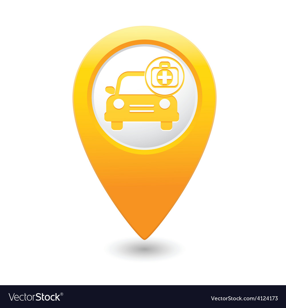 Cars first aid kit map pointer yellow vector   Price: 1 Credit (USD $1)