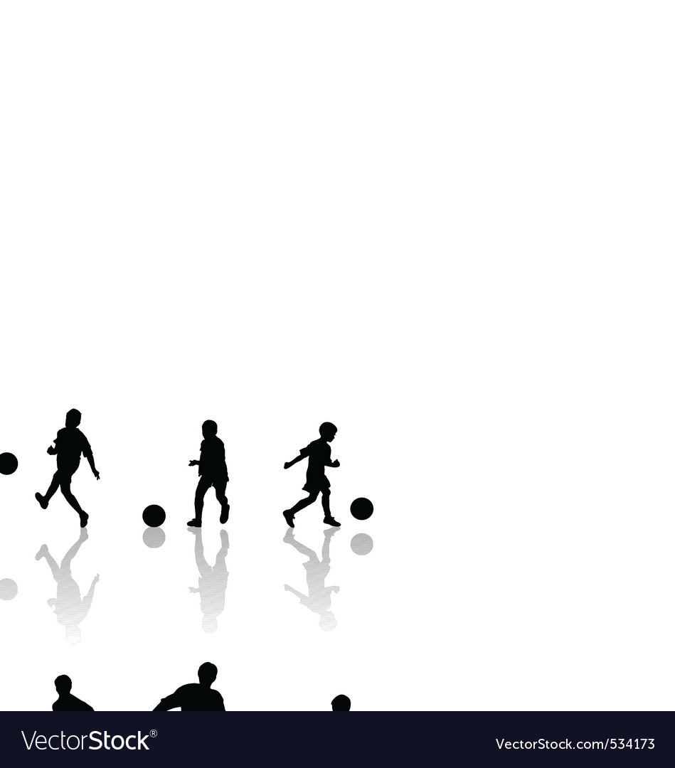 Children football silhouettes vector | Price: 1 Credit (USD $1)
