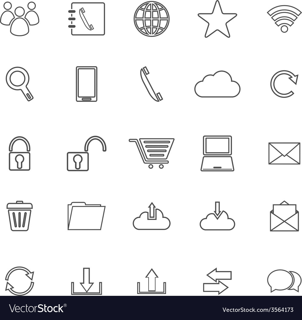 Communication line icons on white background vector | Price: 1 Credit (USD $1)